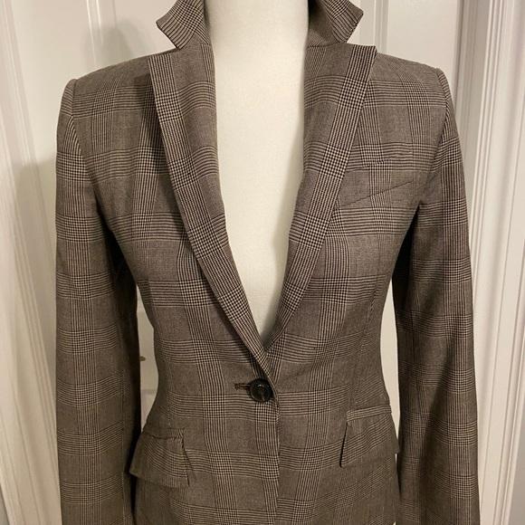 Tan/black check Zara Basic blazer